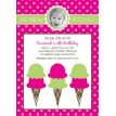Ice Cream Social Party Printable Invitation - Pink Green